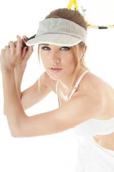 Beautiful  Seductive  Female Tennis Player With Racket. Royalty Free Stock Photos