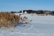 Winter Rural Landscape With Frozen River Stock Image