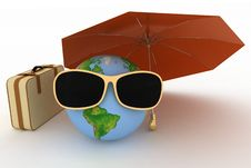 Free Globe In Sunglasses With A Suitcase Stock Photos - 29765863