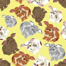 Free Seamless Background With Rabbits Royalty Free Stock Images - 29766069