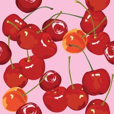 Free Seamless Background With Cherries Royalty Free Stock Image - 29766856
