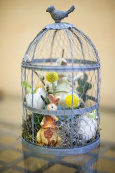Free Small Easter Ornament In A Cage Royalty Free Stock Images - 29767509