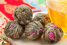 Chinese Green Tea Balls Stock Photography
