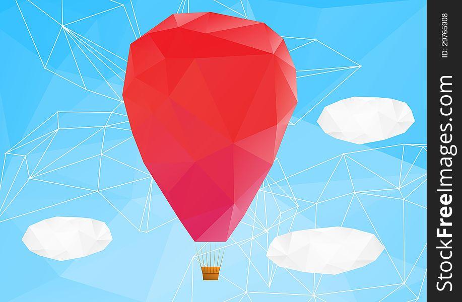 Hot air ballon, poplygonal vector illustration
