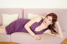 Free Woman Lying On Sofa Royalty Free Stock Images - 29771219