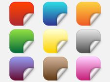 Web Buttons With Folded Corners Royalty Free Stock Photo