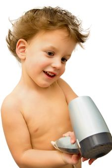 Free Baby Boy With Hair Dryer Over White Stock Images - 29779664