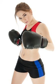 Free Beautiful  Happy Athletic  Girl   Wearing Boxing Gloves. Stock Image - 29780001