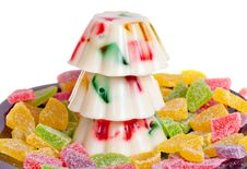 Free Colorful Jelly Pudding Decorated With Jujube Royalty Free Stock Images - 29780519
