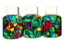 Bottles With Stained Glass Patterns Stock Photo