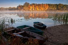 Boats On The Quiet Autumn Lake Royalty Free Stock Photo