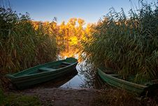 Boats On The Quiet Autumn Lake Stock Photography