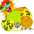 Free Yellow Chicken In Egg. Sun And Rainbow. Royalty Free Stock Photo - 29792395