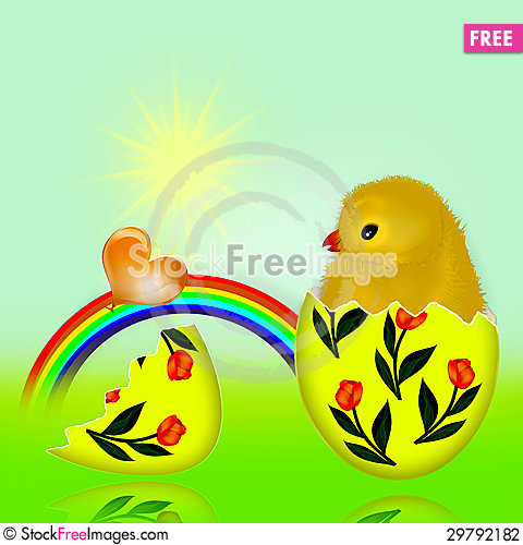 Free Newborn Chicken And The Egg. Stock Photography - 29792182