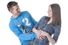 Free Portrait Of Young Happy Smiling Couple Stock Photos - 29790203