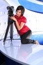 Free TV Reporter In Studio Stock Image - 2984831