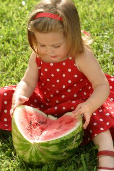 Free Girl Eating Watermelon Royalty Free Stock Photo - 2981905