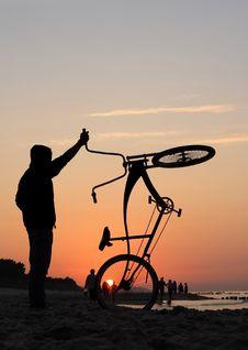Free Bikers Admiring Sunrise Stock Photo - 2983080