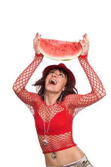 Free The Girl Eats A Water-melon Stock Photos - 2984763