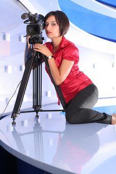 Free TV Reporter In Studio Royalty Free Stock Image - 2984836