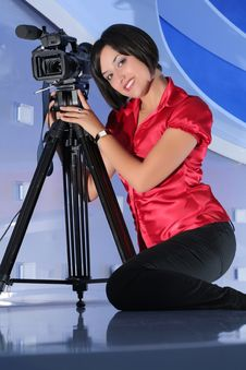 Free TV Reporter In Studio Stock Photos - 2984863