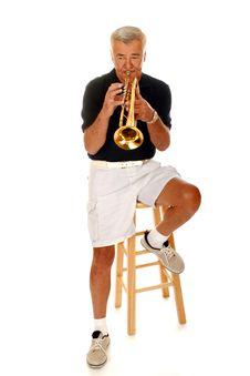 Senior Trumpet Player Stock Photos
