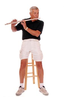 Senior Flute Player Stock Photography