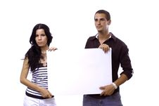 Free Couple Holding Blank Banner Royalty Free Stock Image - 2987366
