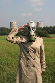 Girl In A Gas Mask Stock Photos