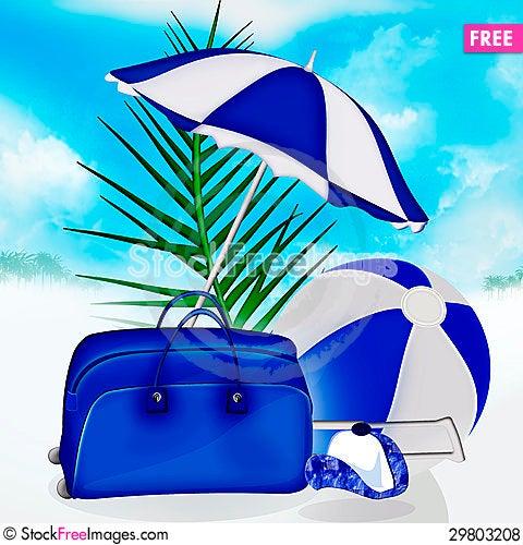 Free Blue Bag, Ball, Umbrella Palm, Cap Royalty Free Stock Photos - 29803208