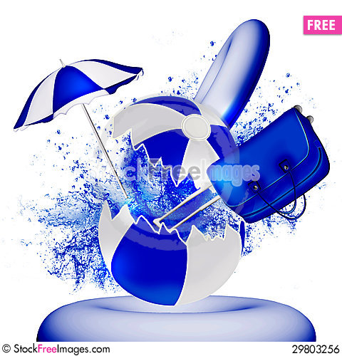 Free Ball, Bag, Umbrella In A Spray Of Water Royalty Free Stock Image - 29803256