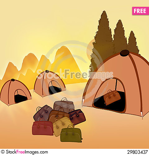 Free Camping. Tent And Travel Bags On The Background Of The Summer La Royalty Free Stock Photography - 29803437
