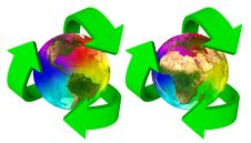 Free Eco Symbol Rainbow Planet Earth - Europe Africa America  And Asia Royalty Free Stock Photos - 29800108
