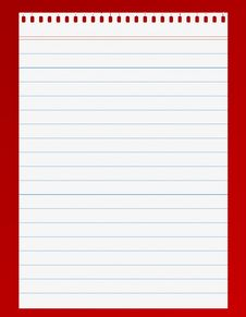 Lined Paper On Red Background Stock Images