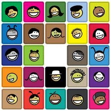 Free Colorful Graphic Of Cute And Happy Faces Of Childr Stock Photography - 29803902