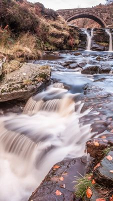 Waterfall And Pack Horse Bridge Stock Photos