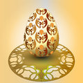 Free Handmade Decorated Easter Egg On Orange Tray Royalty Free Stock Image - 29815596