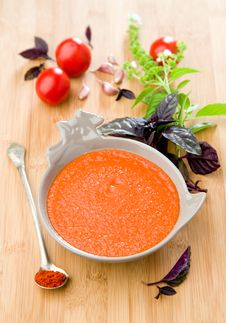Free Gazpacho With Basil Royalty Free Stock Photos - 29811298