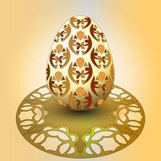 Free Handmade Decorated Easter Egg On Orange Tray Royalty Free Stock Image - 29815596