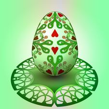 Handmade Decorated Easter Egg On Green Tray Stock Images
