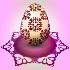 Free Handmade Red Floral Easter Egg On Tray Stock Photo - 29815620