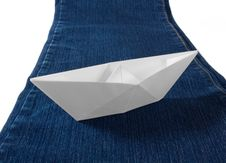 Free Paper Boat On Blue Jeans Stock Photography - 29817292