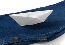 Free Paper Boat On Blue Jeans Royalty Free Stock Photos - 29817308