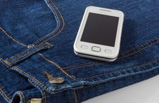 Free Mobile Phone On Blue Jeans Royalty Free Stock Images - 29817339