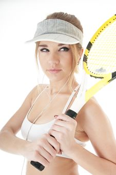 Female Tennis Player With Racket. Royalty Free Stock Photography