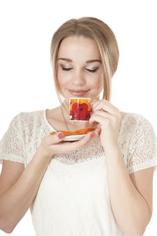 Dreamy Woman  With  Cup Of Coffee On A Plate. Stock Photography