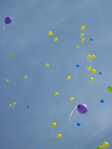 Free Color Balloons Flying Away To The Sky Royalty Free Stock Photography - 29818847
