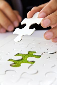Free Hand Holding A Puzzle Piece, Green Space Concept Stock Images - 29822444
