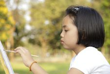 Girl Painting In In The Park Stock Image