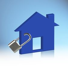 Free Blue House Locked Royalty Free Stock Photography - 29823317
